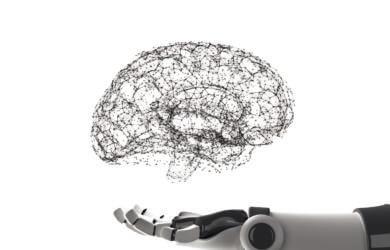 Roboterhand hält virtuelles Gehirn isoliert auf weiß. Künstliche Intelligenz in der futuristischen Technologie-Konzept, 3d Illustration