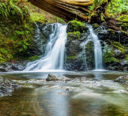 Kleiner Wasserfall inmitten der Natur steht für Nachhaltigkeit
