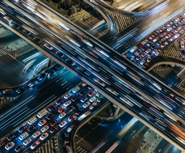 Belebte Autobahn