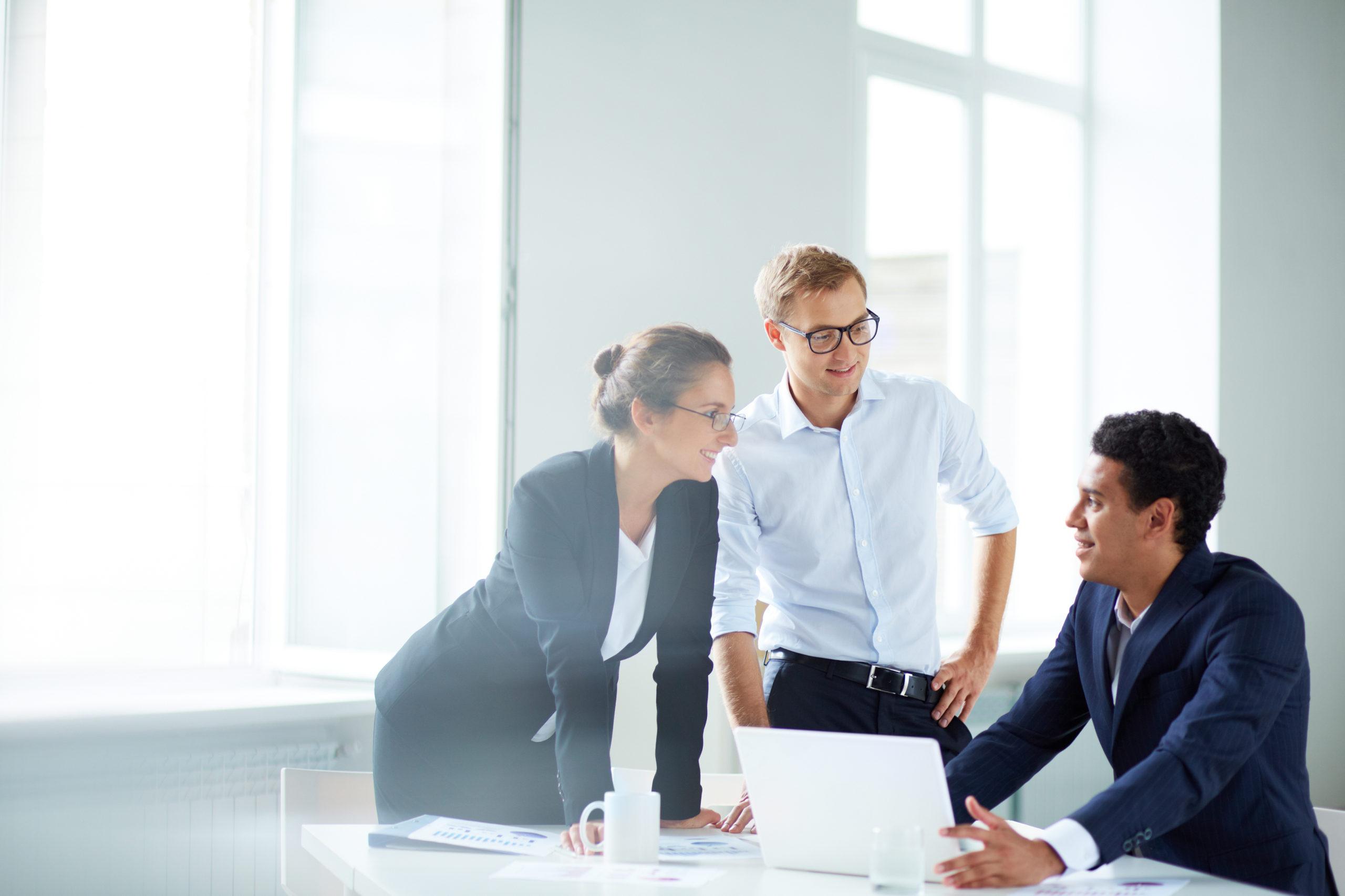 Porträt von Geschäftspartnern, die bei einem Treffen ihre Arbeit planen