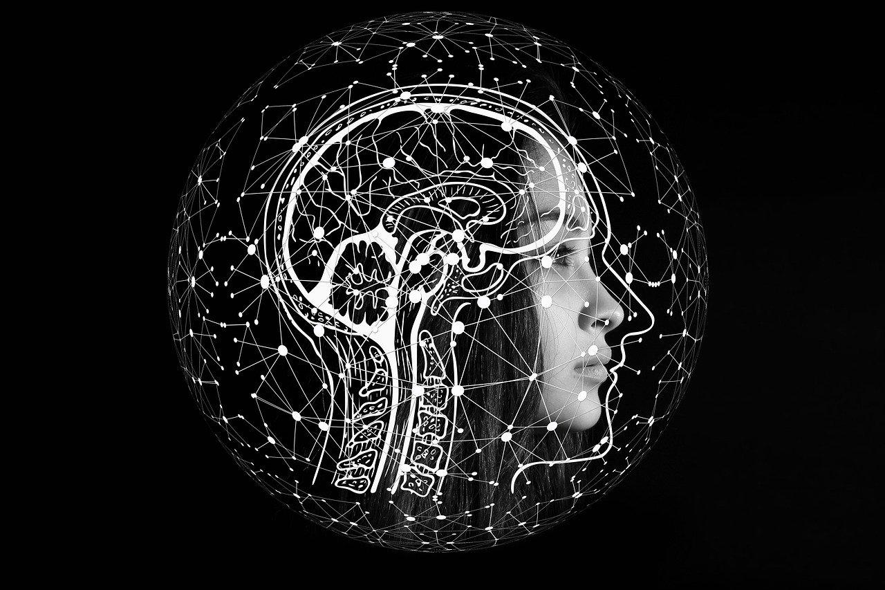 Frau mit Menschlicher Anatomie als Overlay