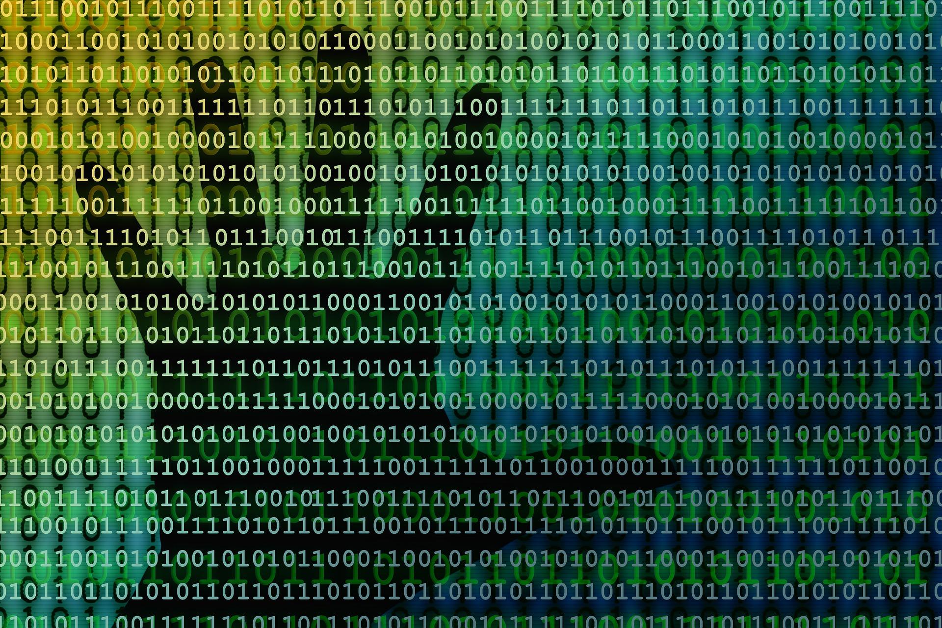 01 Kodierung mit Hand im Hintergrund Datenzugriff