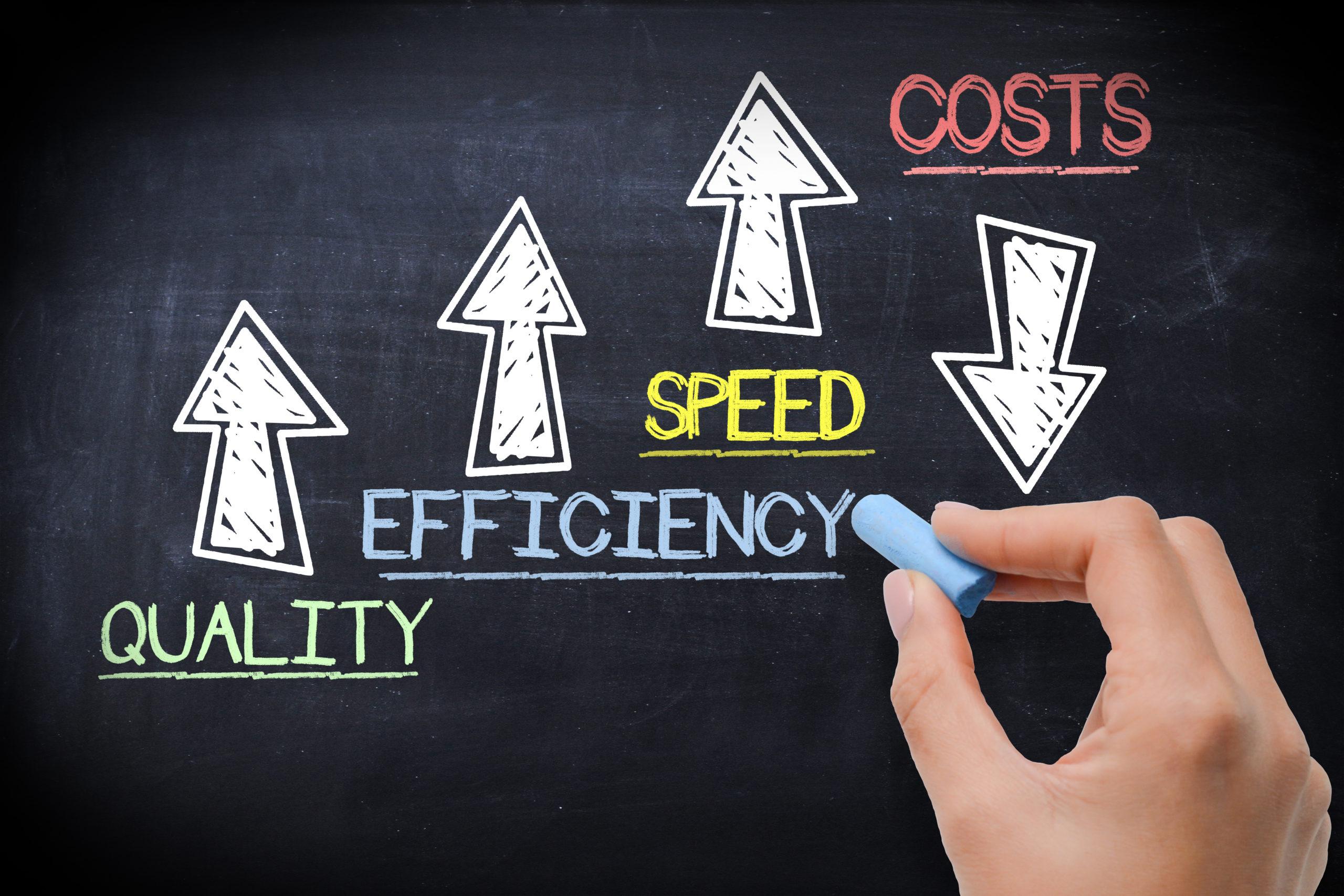 Schwarze Tafel mit Pfeilen nach oben für Wörter Qualität, Effizienz und Geschwindigkeit, Pfeil nach unten für Kosten