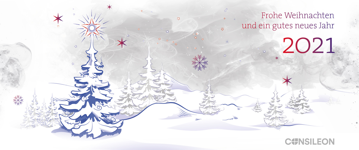 Weihnachtskarte mit beschneetem Wald 2021