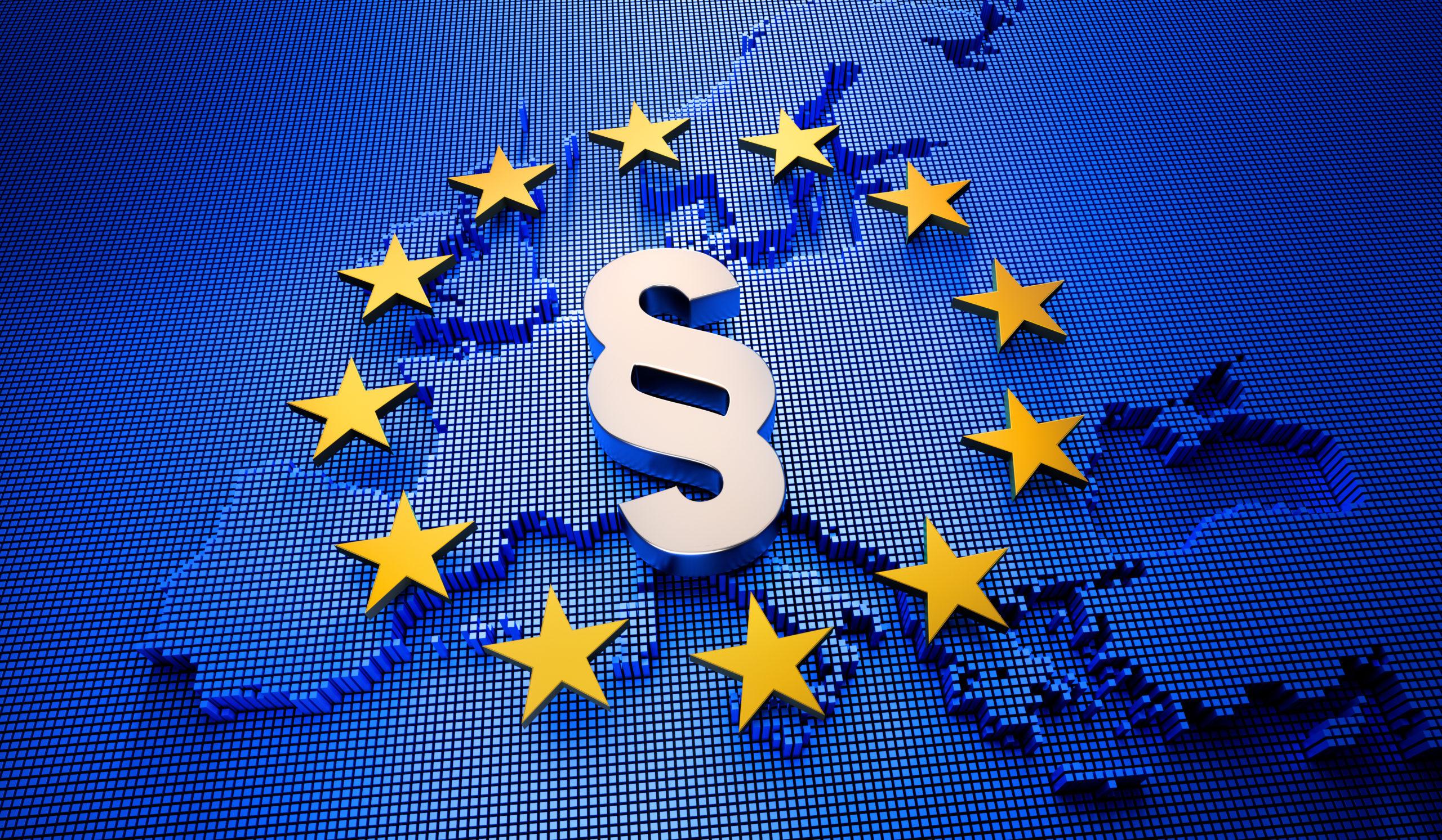 Bild von Europa mit Sternen, die ein Kreis bilden und einem Paragraphenzeichen