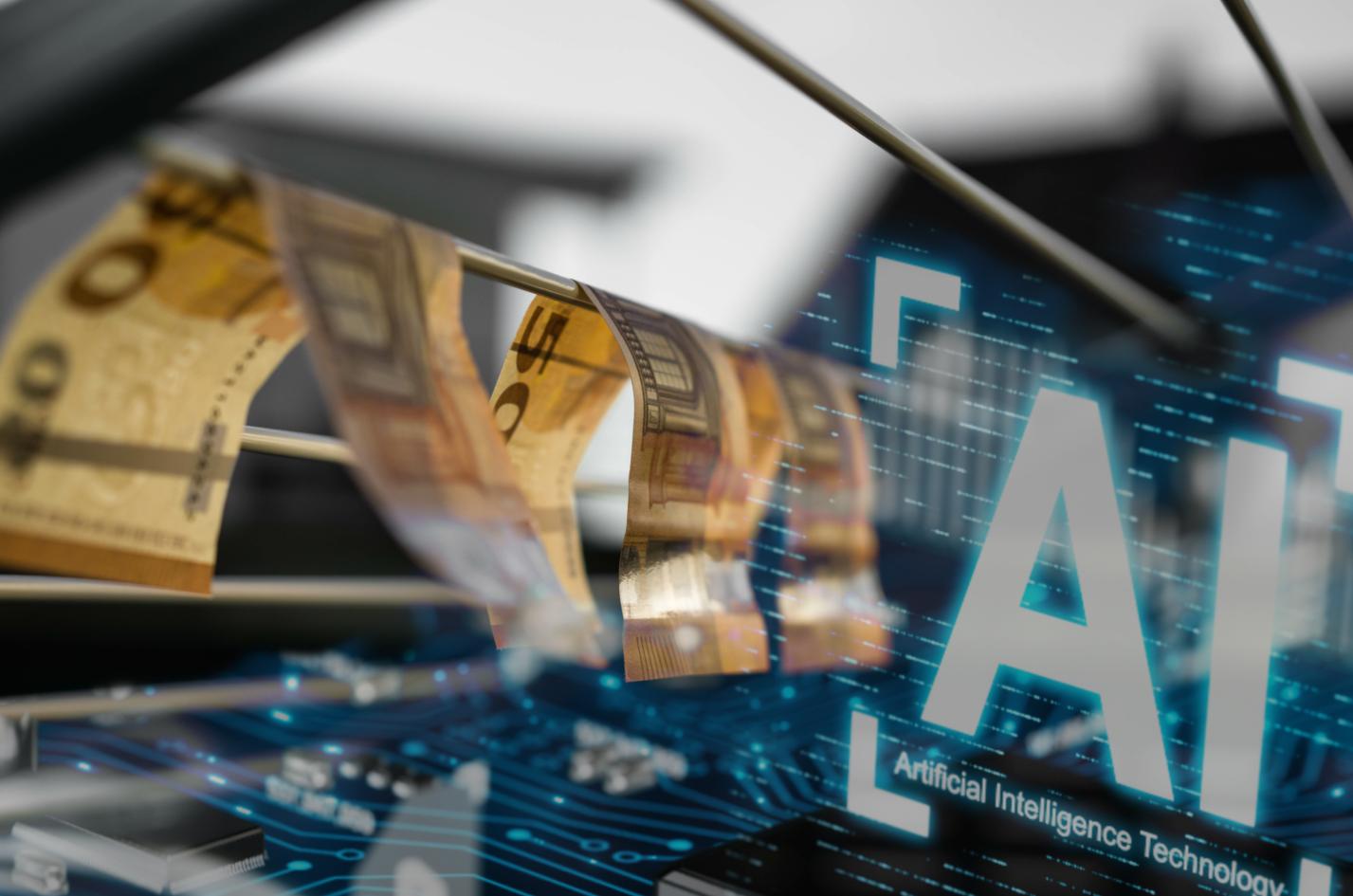 Geldwäsche: 50 Euro Scheine die auf einem Wäscheständer trocknen und AI Overlay