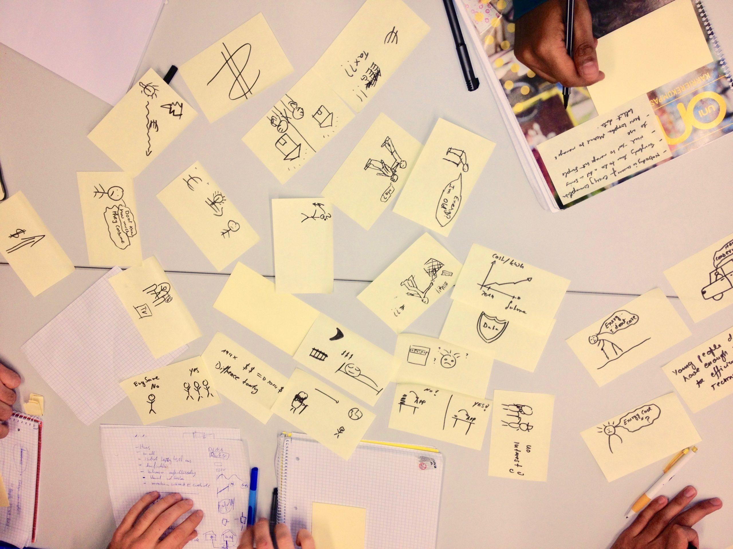 Bild Vogelperspektive von einem Tisch mit vielen kleinen Zettelchen und Händen mit Stiften