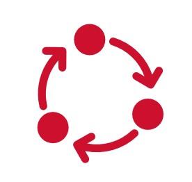 rotes Icon 3 Punkte von denen Pfeile im Kreis von einem Punkt zu anderem zeigt.