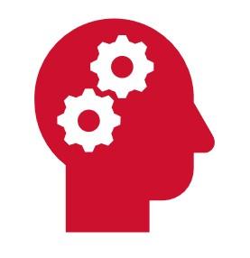Icon: Kopf mit 2 Zahnenrädern im Gehirn Bereich
