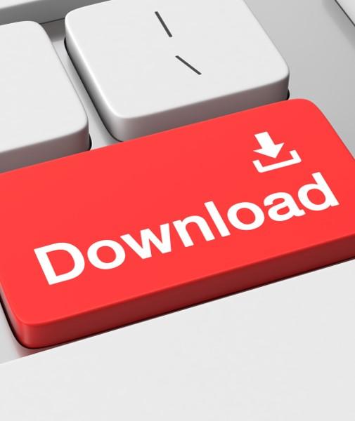 Roter Download Button auf der Tastatur