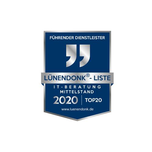 Siegel für Führender Dienstleister IT Beratung Mittelstand2020 von Lünendonk