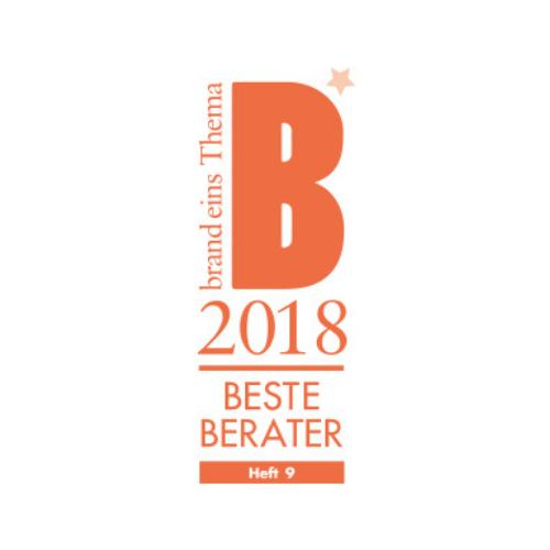 Siegel Bester Berater 2018 von Brand eins Thema