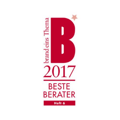 Siegel Bester Berater 2017 von Brand eins Thema