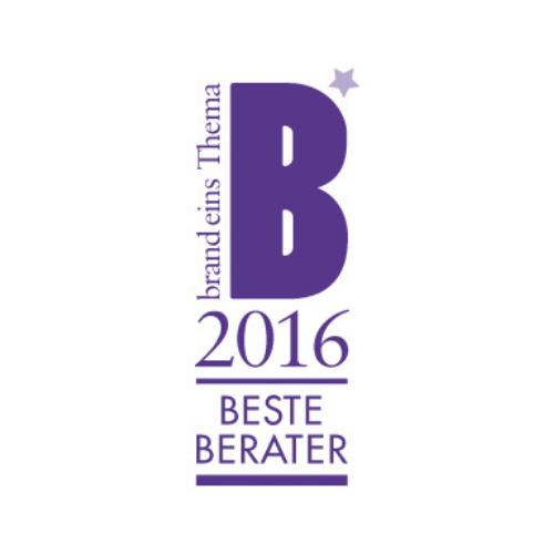 Siegel Bester Berater 2016 von Brand eins Thema