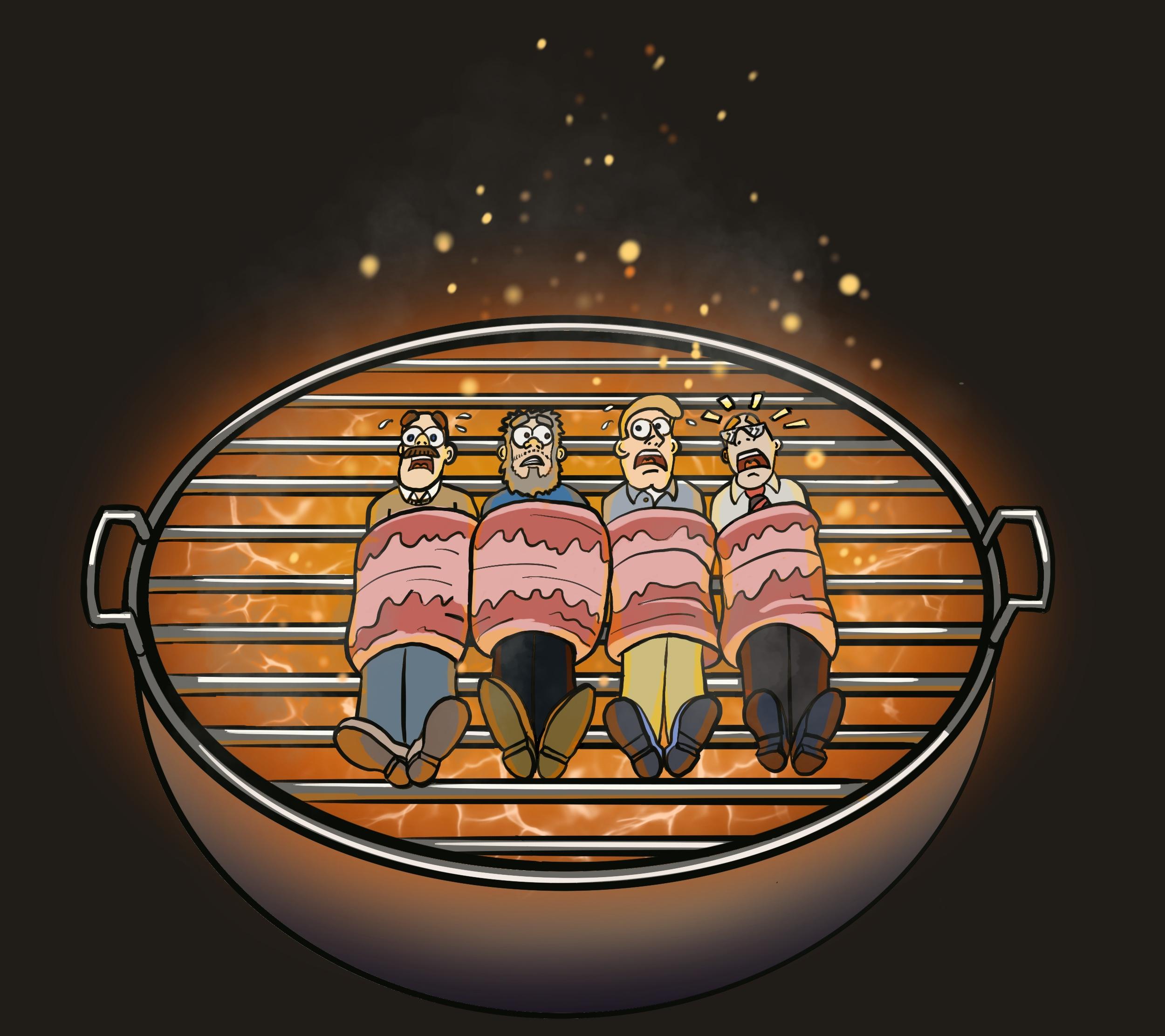 4 Männer umwickelt in Schinken liegen auf einem heißen Grill