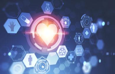 Herz und medizinische Symbole über dunkelblauer Seitenansicht