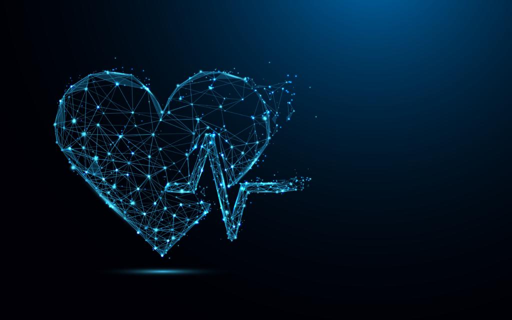 Herz aus einem Netzwerk von Punkten mit dunklem Hintergrund