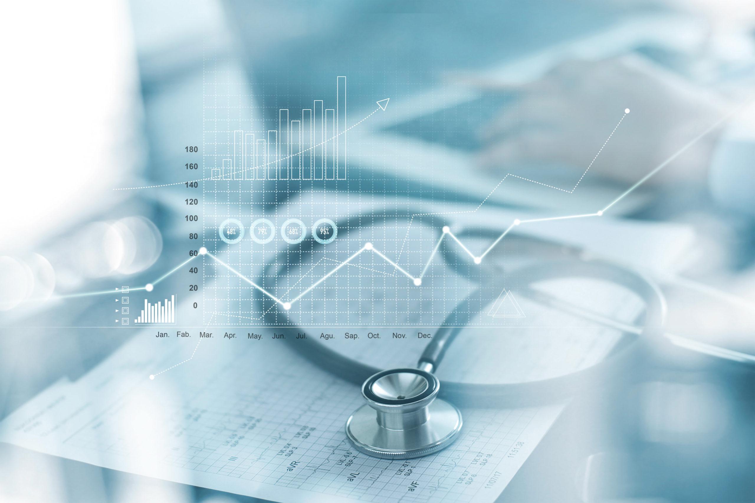 Healthcare Business Graph und Medizinische Untersuchung und Geschäftsmann Analyse von Daten und Wachstum Diagramm auf unscharfem Hintergrund