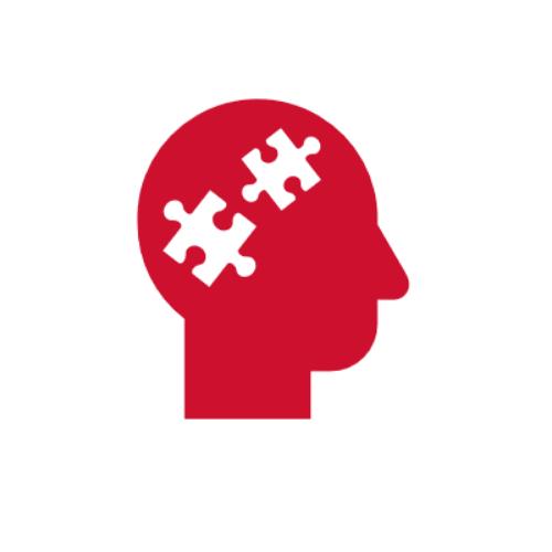 Icon: Kopf mir Puzzle Teilen im Gehirn Bereich