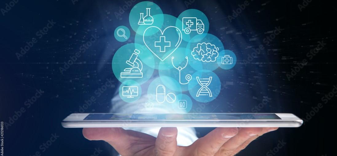 Hand die ein Tablet hält mit Medizinischen Icons und Verbindung 3d Rendering