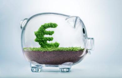 Sparschwein aus Glas, das symbolisch für nachhaltige Finanzanlegen steht. Grüner Busch in Euro Form wächst im Schwein