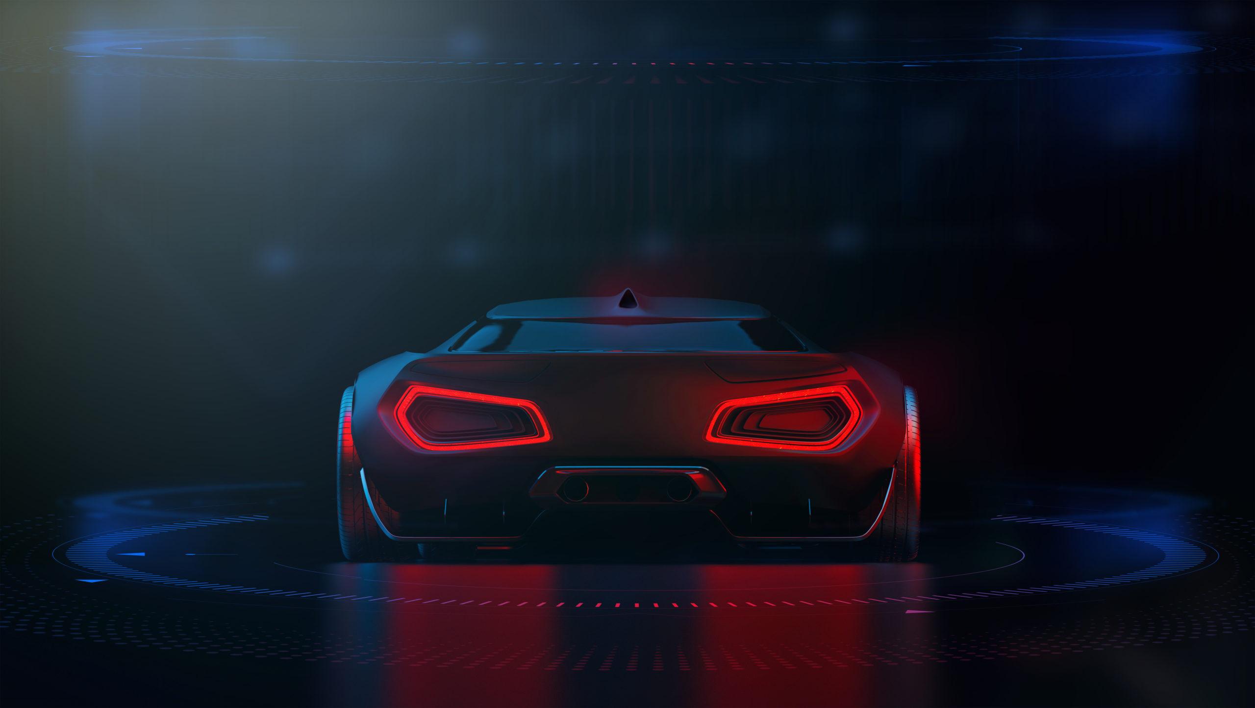 Fahrzeug von hinten, Rücklichter sichtbar