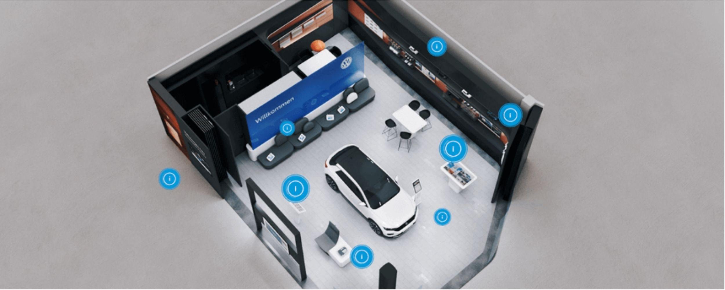 Connected Digital Showroom, Blick von oben auf den Verkaufsraum bzw. dessen Design