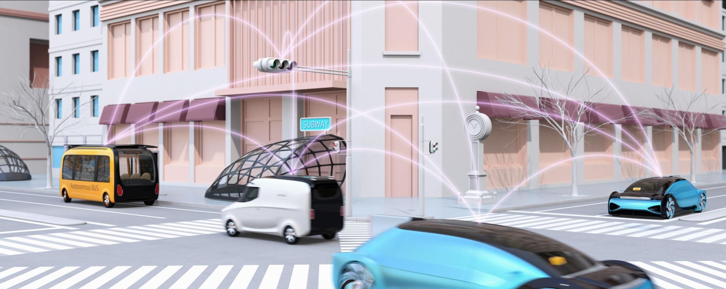Verbundene futuristische Fahrzeuge in einer Smart City